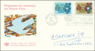 Autographs: PRESIDENT ABOLHASSAN BANI-SADR (IRAN) - FIRST DAY COVER SIGNED 09/29/1987