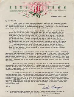 FATHER EDWARD J. FLANAGAN - TYPED LETTER SIGNED 11/22/1943
