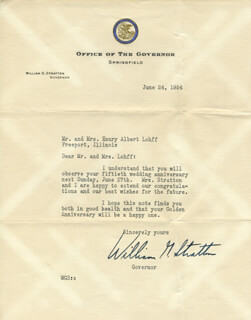 WILLIAM G. STRATTON - TYPED LETTER SIGNED 06/24/1954