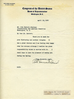 RUTH HANNA McCORMICK - TYPED LETTER SIGNED 04/18/1930