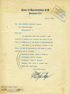 WILLIAM TYLER PAGE - TYPED LETTER SIGNED 06/03/1919