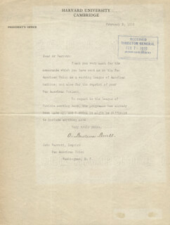 ABBOTT LAWRENCE LOWELL - TYPED LETTER SIGNED 02/05/1919