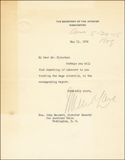 Autographs: FRANKLIN K. LANE - TYPED LETTER SIGNED 05/11/1918