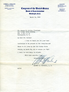 ALBERT L. VREELAND - TYPED LETTER SIGNED 03/14/1939