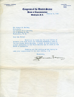 J. PARNELL THOMAS - TYPED LETTER SIGNED 01/05/1938