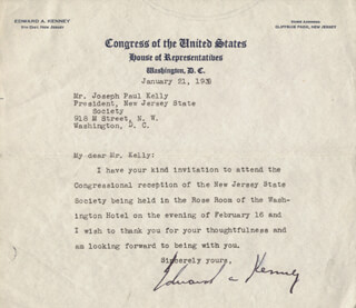 EDWARD A. KENNEY - TYPED LETTER SIGNED 01/21/1938