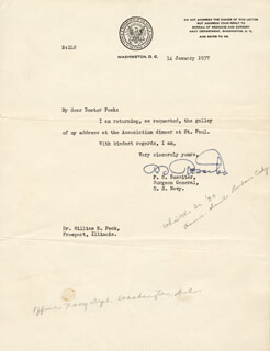 GENERAL P. S. ROSSITER - TYPED LETTER SIGNED 01/14/1937