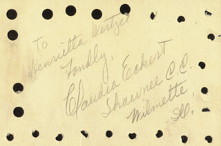 CLAUDIA ECKERT - AUTOGRAPH NOTE SIGNED