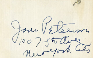 JANE PETERSON - AUTOGRAPH