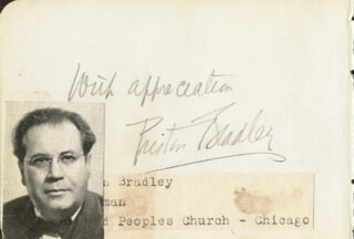 PRESTON BRADLEY - AUTOGRAPH SENTIMENT SIGNED CIRCA 1940 CO-SIGNED BY: AMBROSE J. WYRICK