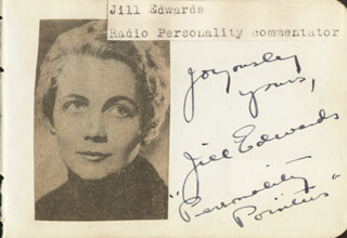 JILL EDWARDS - AUTOGRAPH CO-SIGNED BY: CHARLES CARRER