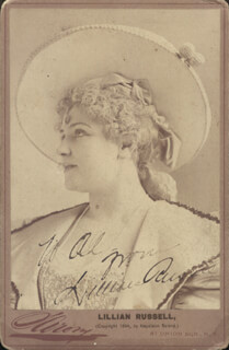 LILLIAN RUSSELL - AUTOGRAPHED INSCRIBED PHOTOGRAPH