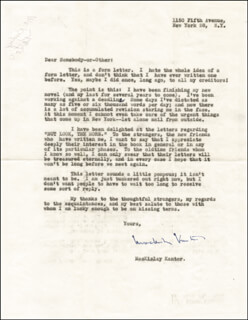 MACKINLAY KANTOR - TYPED LETTER SIGNED