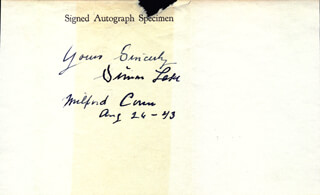 SIMON LAKE - AUTOGRAPH SENTIMENT SIGNED 08/26/1943