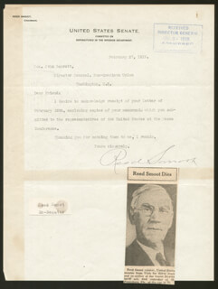 REED SMOOT - TYPED LETTER SIGNED 02/27/1919
