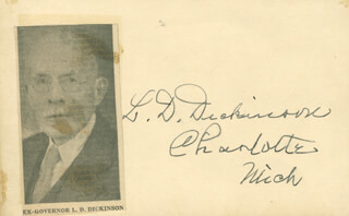 GOVERNOR LUREN D. DICKINSON - AUTOGRAPH