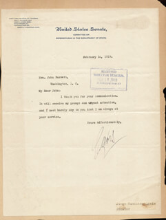 JAMES HAMILTON LEWIS - TYPED LETTER SIGNED 02/14/1919