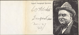WILLIAM ALLEN WHITE - AUTOGRAPH 11/27/1943