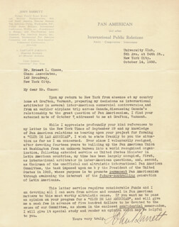 JOHN BARRETT - TYPED LETTER SIGNED 10/14/1930