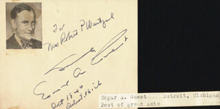 EDGAR A. GUEST - AUTOGRAPH NOTE SIGNED 10/18/1940