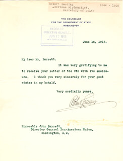 ROBERT LANSING - TYPED LETTER SIGNED 06/15/1915