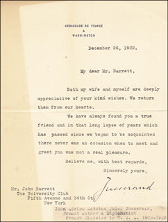JEAN J. JUSSERAND - TYPED LETTER SIGNED 12/26/1922