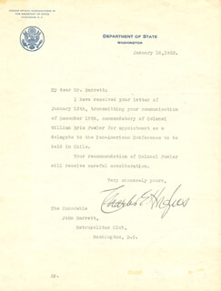 CHIEF JUSTICE CHARLES E HUGHES - TYPED LETTER SIGNED 01/16/1923