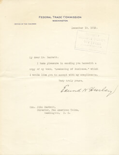 EDWARD N. HURLEY - TYPED LETTER SIGNED 12/19/1916