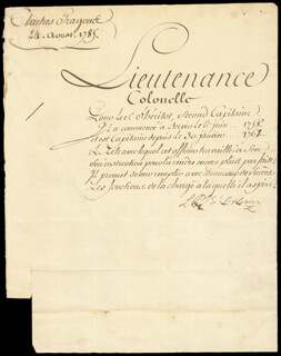 Autographs: (LOUIS PHILIPPE JOSEPH) DUKE OF ORLEANS - MILITARY APPOINTMENT SIGNED 08/24/1789