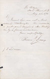 BENSON J. LOSSING - AUTOGRAPH LETTER SIGNED 08/26/1874