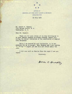 Autographs: GENERAL OMAR N. BRADLEY - TYPED LETTER SIGNED 07/19/1965