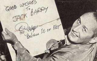 ROBERT BELIEVE IT OR NOT! RIPLEY - INSCRIBED PICTURE POSTCARD SIGNED