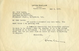UPTON SINCLAIR - TYPED LETTER SIGNED 05/04/1932