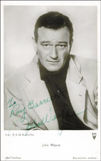 JOHN DUKE WAYNE - INSCRIBED PICTURE POSTCARD SIGNED