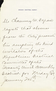 CHAUNCEY M. DEPEW - THIRD PERSON AUTOGRAPH LETTER