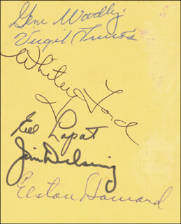 THE NEW YORK YANKEES - AUTOGRAPH CO-SIGNED BY: VIRGIL TRUCKS, WHITEY FORD, JIM DELSING, EDDIE LOPAT, GENE WOODLING, ELSTON ELLIE HOWARD