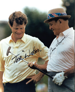 TOM WATSON - AUTOGRAPHED SIGNED PHOTOGRAPH CO-SIGNED BY: SAM SLAMMING SAMMY SNEAD