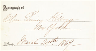 CLARA LOUISE KELLOGG - PRINTED CARD SIGNED IN INK 03/29/1869