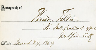 THEODORE TILTON - PRINTED CARD SIGNED IN INK 03/29/1869