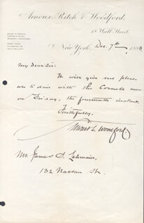 BRIGADIER GENERAL STEWART L. WOODFORD - AUTOGRAPH LETTER SIGNED 12/07/1883
