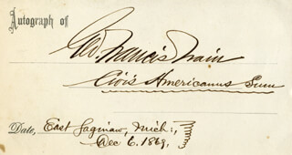 GEORGE FRANCIS TRAIN - AUTOGRAPH QUOTATION SIGNED 12/06/1869