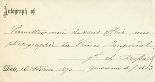 Autographs: GENERAL CHARLES AUGUSTE FROSSARD - AUTOGRAPH NOTE SIGNED 02/16/1870