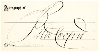 Autographs: PETER COOPER - SIGNATURE(S) 03/27/1869