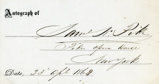 SAMUEL N. PIKE - PRINTED CARD SIGNED IN INK 04/23/1868
