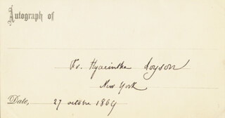Autographs: CHARLES PÈRE HYACINTHE LOYSON - PRINTED CARD SIGNED IN INK 10/27/1869