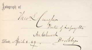 Autographs: THEODORE L. CUYLER - PRINTED CARD SIGNED IN INK 04/06/1869