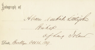 Autographs: ABRAM NEWKIRK LITTLEJOHN - PRINTED CARD SIGNED IN INK 10/26/1859