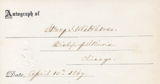 HENRY JOHN WHITEHOUSE - PRINTED CARD SIGNED IN INK 04/12/1869