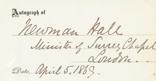 Autographs: REV. CHRISTOPHER NEWMAN HALL - PRINTED CARD SIGNED IN INK 04/05/1869