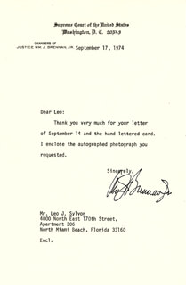 ASSOCIATE JUSTICE WILLIAM J. BRENNAN JR. - TYPED LETTER SIGNED 09/17/1974